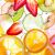 Sliced fruits background