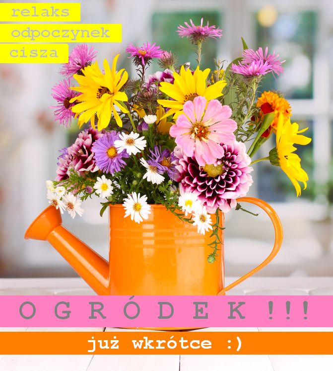 beautiful bouquet of bright flowers in watering can on wooden table